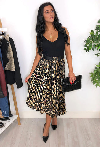 Miranda Pleated Leopard Print skirt - Brown