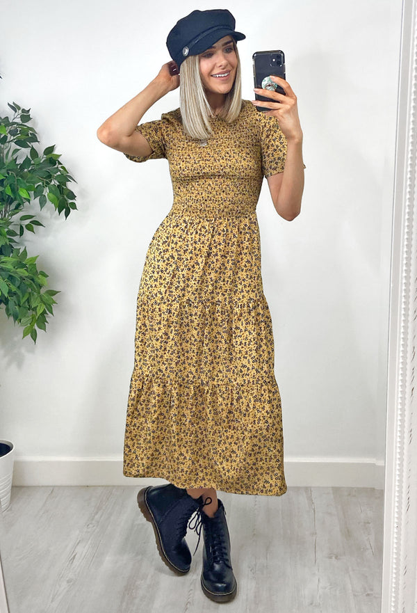 Tilly Ditsy Print Tiered Midaxi Dress - Mustard