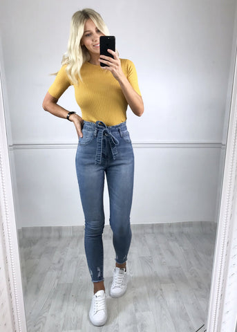 Delta Ribbed Top - Mustard