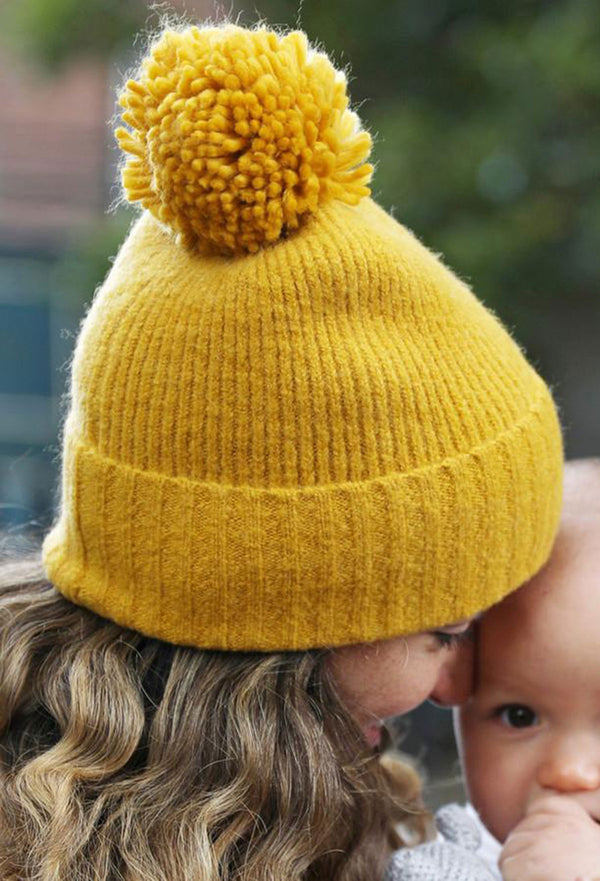 Lisa Angel Mustard Bobble Hat