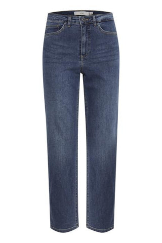 Ichi Raven Mom Jeans - Mid Wash Blue