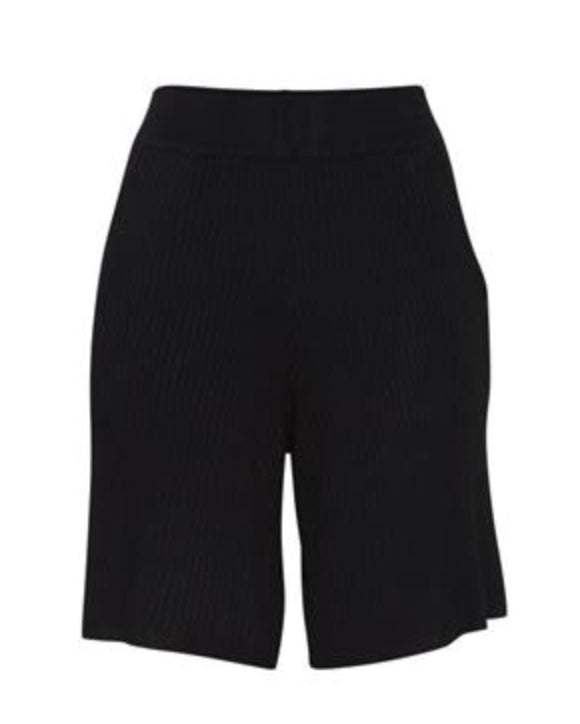 Ichi Minnesota Viscose Ribbed shorts - Black