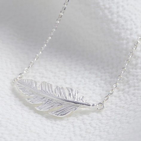 Lisa Angel Silver Feather Necklace