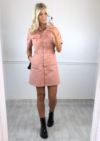 Havana Cargo Dress - Dusty Pink