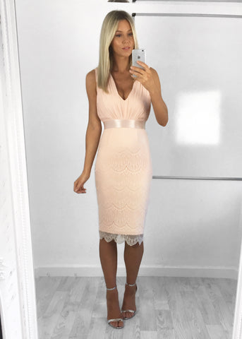 Olivia Pleat & Lace Midi Dress