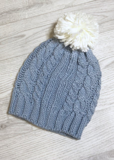 Jamie Cable Knit Pom Pom Hat - Blue & Cream