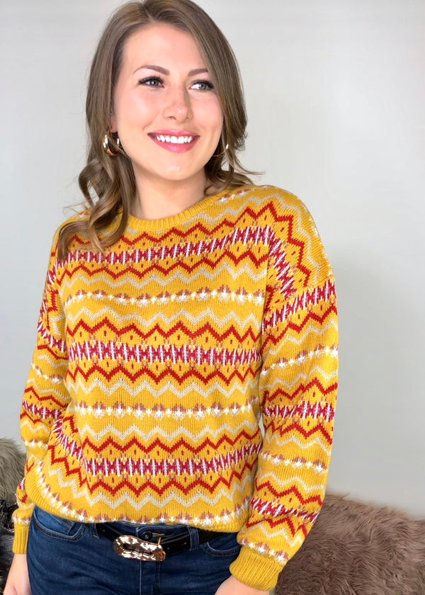 Mary Mustard Fairisle Design Jumper