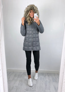 Urban Bliss - Piper Longline Padded Coat - Grey