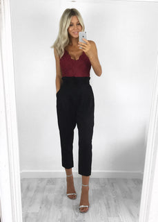 Riley Paper Bag Waist Trousers - Black