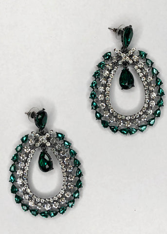 Diamante Green Gemstone Oval Earrings