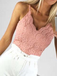 Grace Crochet Lace Bodysuit - Pink