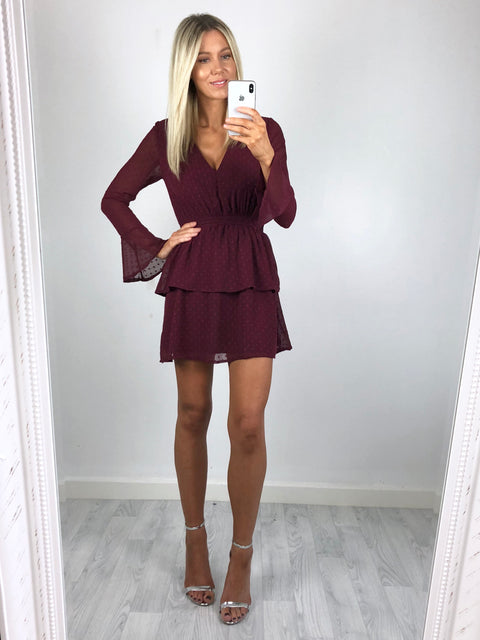 Belle Flared Sleeve Tiered Dress - Burgundy