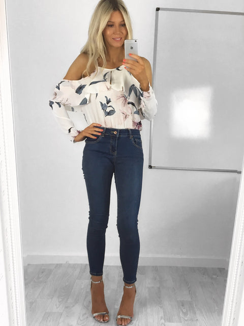 Amelie Floral Cold Shoulder Bodysuit