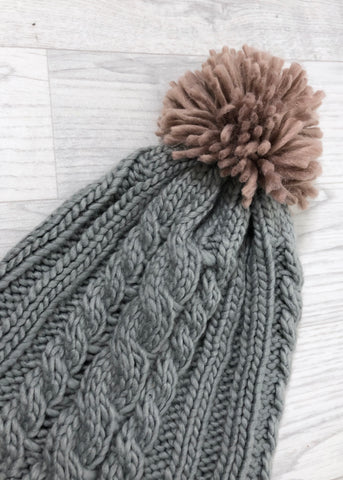 Jamie Cable Knit Pom Pom Hat - Grey and Dusty Pink