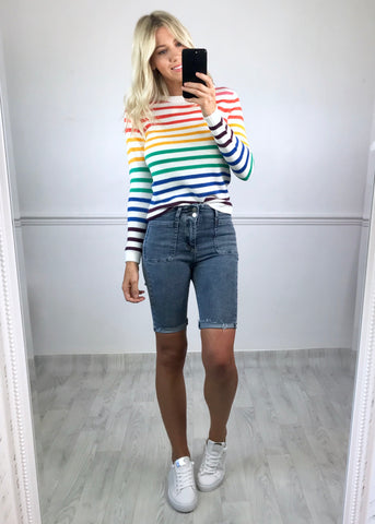 Chelle Stripey Jumper - White