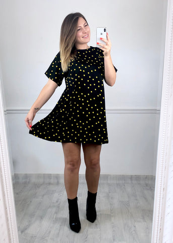 Jolene Black Polka Dot Smock Dress