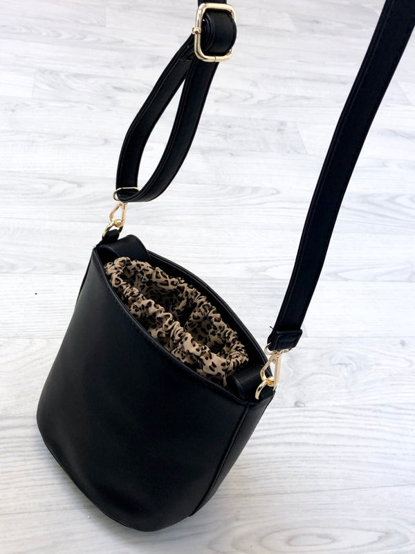 Black Bucket Bag with Leopard Insert