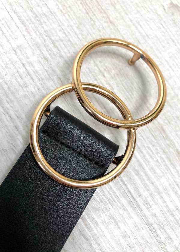 Vega Black and Gold Double Circle Belt