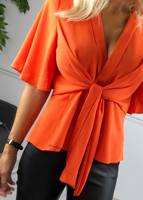 Hannah Flared Sleeve Top - Orange
