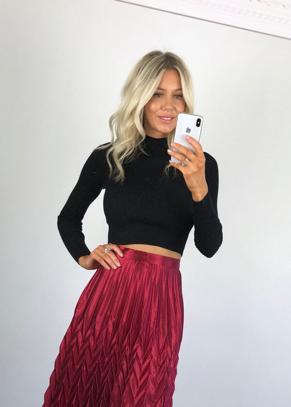 Urban Bliss - High Neck Ribbed Cropped Jumper