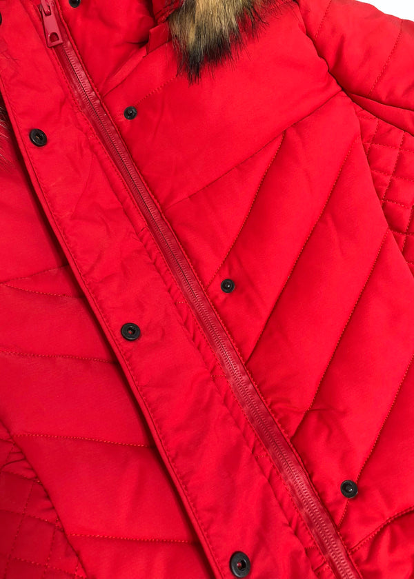 Jody Longline Padded Coat - Red