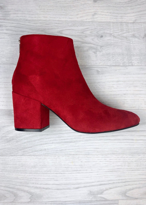 Sasha Block Heel Ankle Boots - Red