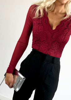 Ariana Long Sleeve Crochet Lace Bodysuit - Wine