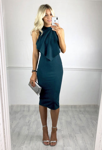 Teri Layered Midi Dress - Teal
