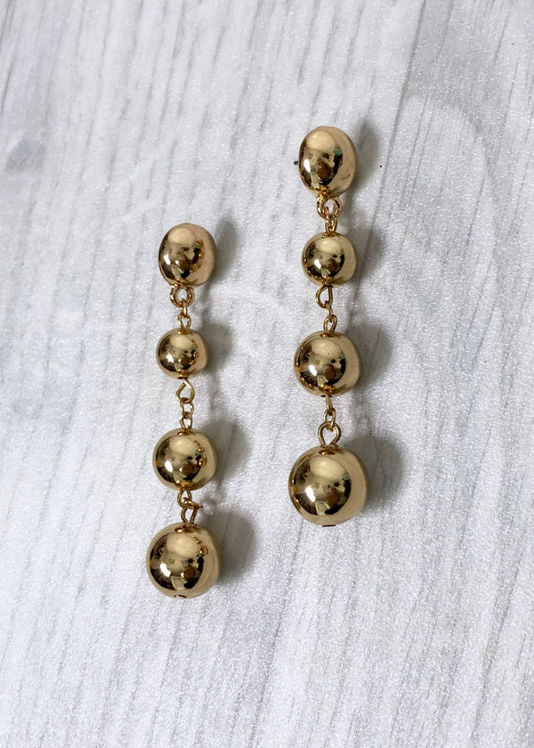Ball Drop Earrings - Gold