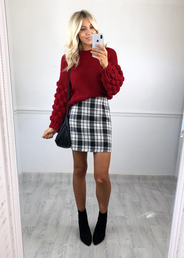 Gia Black & White Check Skirt