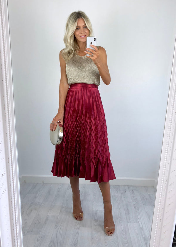 Bonnie Metallic Pleat Skirt - Cherry Red