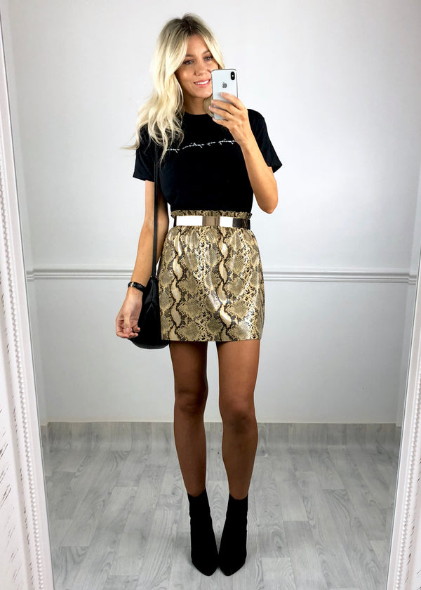 Jade Snake Print Wet Look Skirt