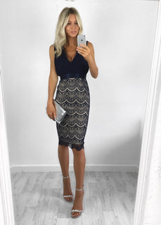 Olivia Pleat & Lace Midi Dress - Navy