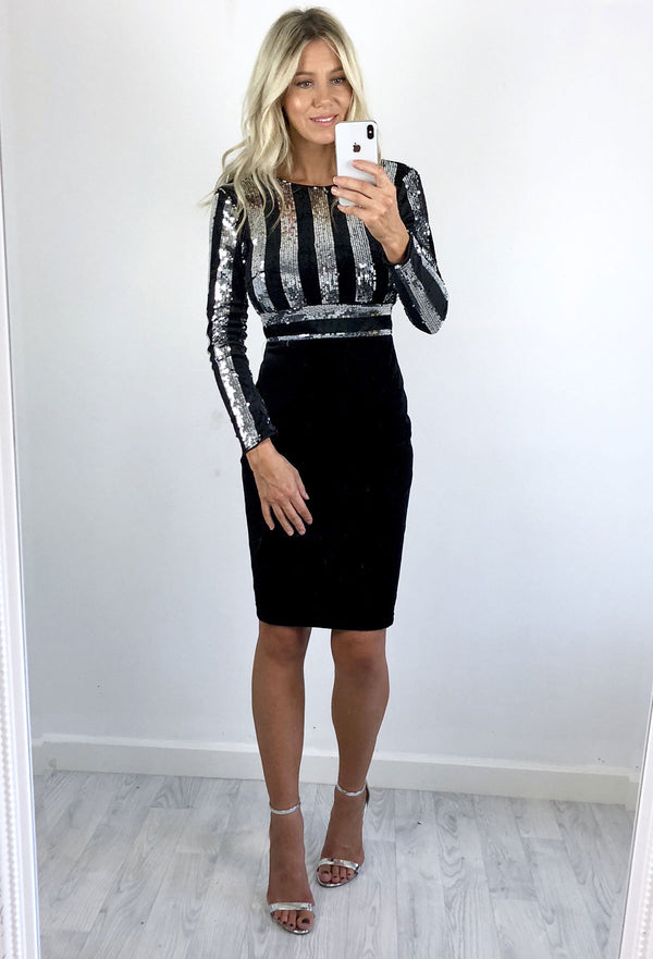 Cindy Striped Sequin Midi Dress