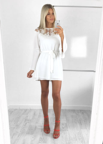 Lola Crochet Lace Flared Sleeve Dress