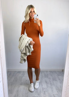Erica Ribbed Midi Dress - Burnt Orange