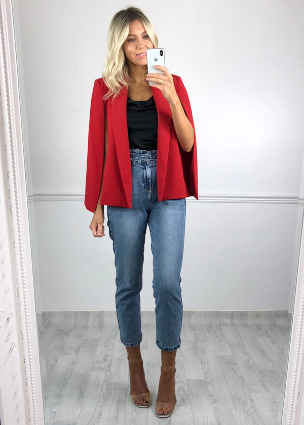 Halle Cape Blazer - Red