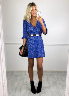 Evelyn Spot Print Button Dress - Blue
