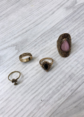 Pack of 4 Vintage Rings with Gemstone - Gold