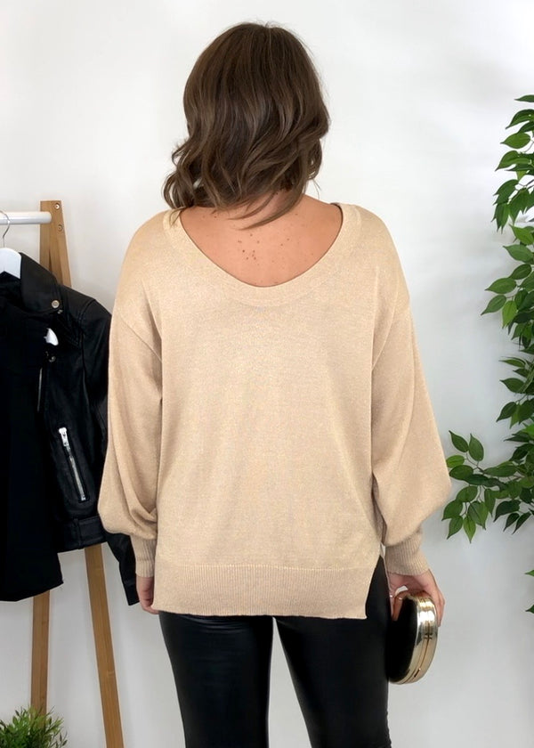 Kallie Round Neck Reversible Jumper - Gold