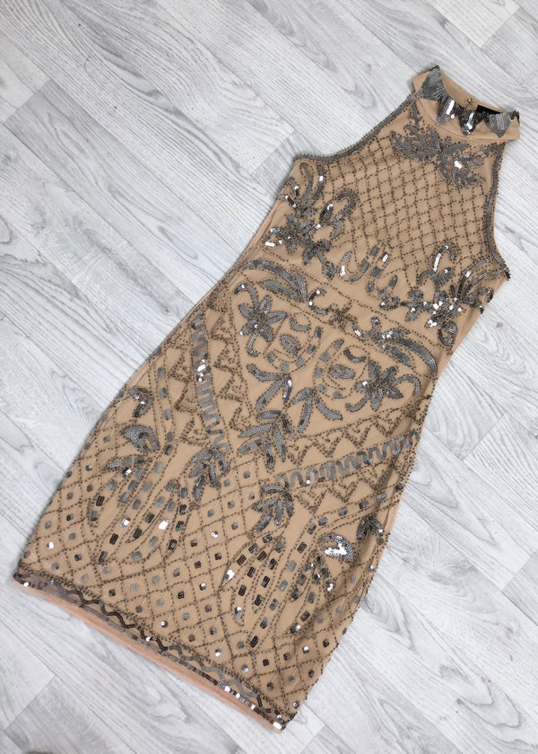 Adrianna High-Neck Sequin Dress - Nude