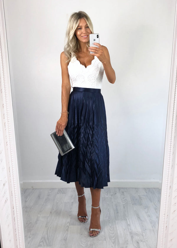 Bonnie Metallic Pleat Skirt - Navy
