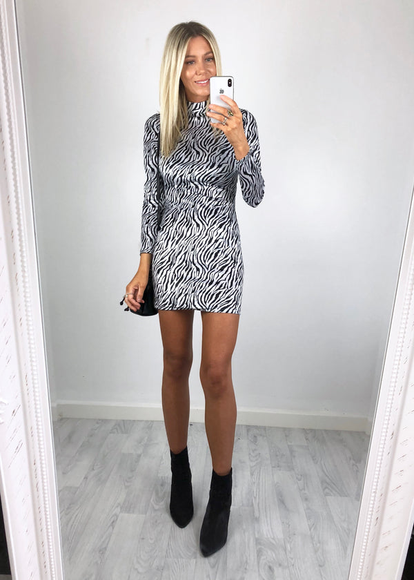 Lou High-Neck Zebra Mini Dress