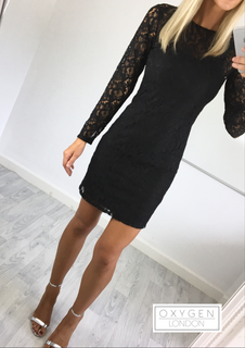 Noir Black Lace Dress - Short