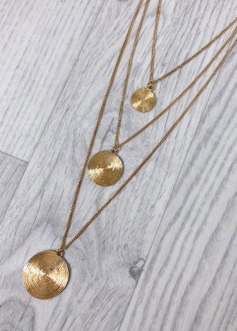 Three disc drop necklace - Gold