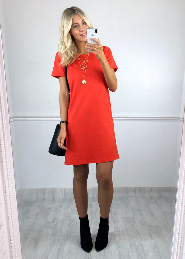 Janet Shift Dress - Coral