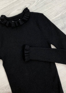 Ruby Ruffle Fine Knit Jumper - Black