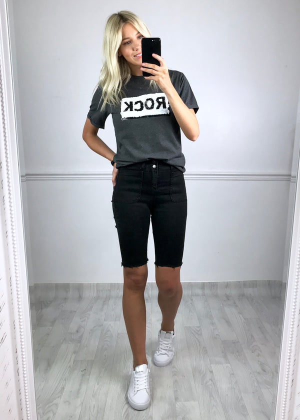 Rock Sequin Slogan Tee - Charcoal