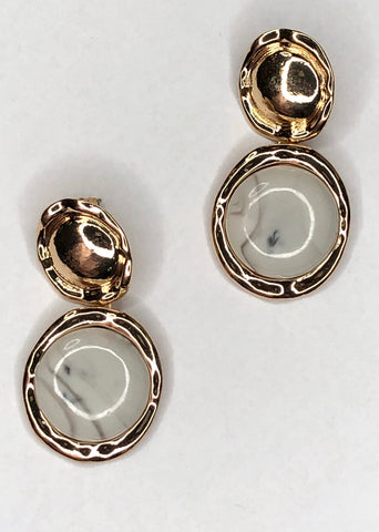 Double Circle Stone Earrings
