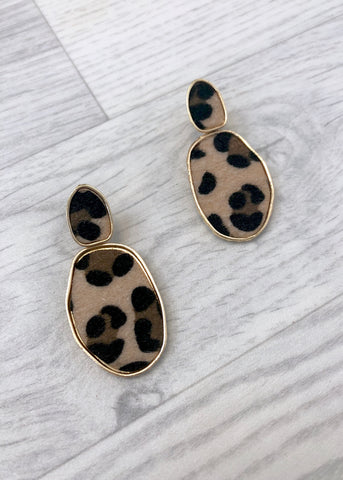 Oval Drop Leopard Earrings